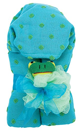 AM PM Kids! Green Dot Hooded Towel with Baby Loofah, Turquoise