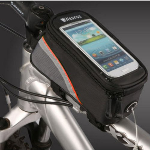 Weanas Roswheel Cycling Bike Bicycle Frame Pannier Front Top Tube Bag X Large Waterproof For Iphone Samsung 5.5 Inch Mobile Cell Phone Red Black