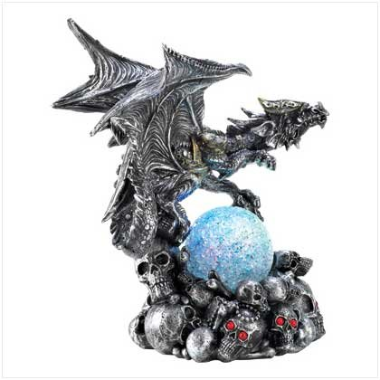 Armored Dragon On Skulls Color Change Globe Orb Statue