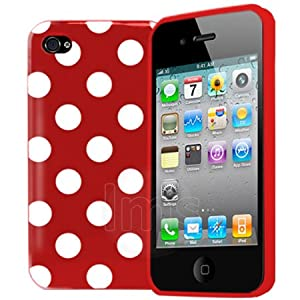 Red Polka Dots Gel Case For Apple iPhone 4s 4 s 4g 8GB 16GB 32GB 64GB + Screen Protector