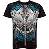 Legend of the Sword Metallic Silver Embossed Short Sleeve Crew Neck Cotton Mens Fashion T-Shirt