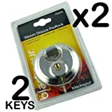 70MM DISCUS DISC ROUND SECURITY PADLOCK WITH 2 KEYS - HEAVY DUTY - HARDENED SHACKLE - STAINLESS STEEL - WATERPROOF - IDEAL FOR HOME, OFFICE, WAREHOUSES, MOTORBIKE, GATES, GARDEN SHED (PACK 2)