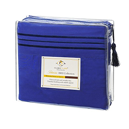 Clara Clark Premier 1800 Collection 4pc Bed Sheet Set - King Size, Royal Blue (Cheap Flat Sheets compare prices)