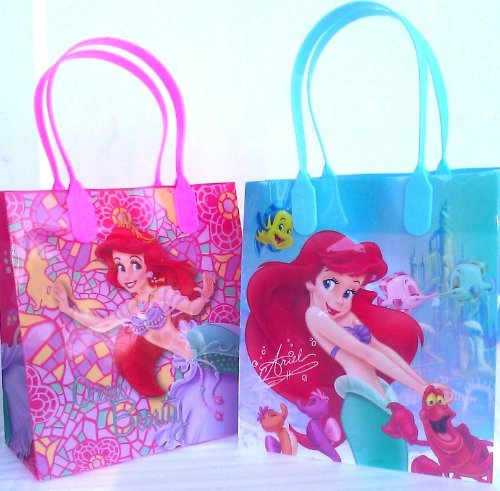 Disney Little Mermaid Ariel Small Plastic Goodie Gift Favor Treat Tote Bags with Handle (12ct) - 1