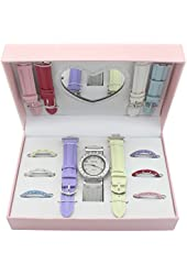 12 pcs Premium Watch Set with Interchangeable Bands & 1 Heart Shaped Mirror
