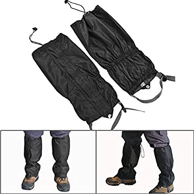 1 Pair Jet Black Unisex Double Sealed Velcro Zippered Closure TPU Strap Waterproof 400D Nylon Cloth Leg Gaiters Leggings Cover for Biking Boating Fishing Skiing Snowboarding Hiking Climbing Hunting
