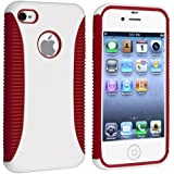 Hybrid Case compatible with Apple iPhone 4 / 4S, Red TPU / White Hard