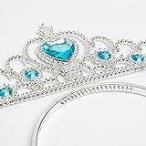 Vicloon- Set de déguisement de filles pour costume d'Elsa la Reine des Neiges - Diadème avec un diamant Bleu/Gants/Baguette magique/Tresse Blanche - 2-9 ans