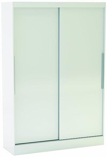 Birlea Lynx 2-Door Sliding Wardrobe With Mirror- High-Gloss, White
