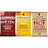 Nando's Peri-Peri Grooves, 3 Flavours, Spicy Chicken, Smokey BBQ & Hot Chips 150g