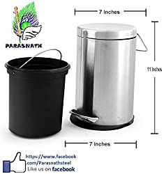 Parasnath Stainless Steel Plain Pedal Dustbin, Plain Pedal Garbage Bin with Plastic Bucket 7x11 (5 litre)
