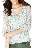 Indigo Collection Front Tie Floral Gypsy Top [T66-9157-S]