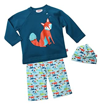 Zutano Baby-Boys Infant Foxtrot Long Sleeve Raglan Tee With Hat And Pant Set, Multi, 12 Months