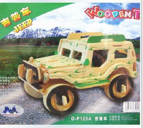 HSE Wooden Three-Dimensional Simulation Model 3D Puzzle / Puzzle Educational Toys Diy Small Jeep Blocks octa angle ru bun lock children puzzle toy building blocks