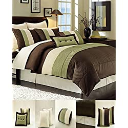 "8 Piece Luxury Bedding Regatta comforter set Sage Green / Brown / Beige Queen Size Bedding 94""X92"""