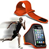 Orange iPhone 5-5s-5c Running Armband Case Cover Holder for Cycling, Jogging, Fitness Training, Boot Camp, Exercise, Sports, Outdoor Activities, Gym Cases Covers and Accessories for New Apple iPhone 5-5s-5c by iChoose®