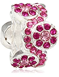 Daisy Bouquet Charm With Pink And Rose Australian Crystal 925 Sterling Silver Bead For European Bracelet Jewelry