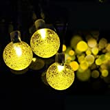 Solar Outdoor String Lights, iDOO 20ft 30 LED Crystal Ball Pattern Fairy Solar String Lights for Outside Decor, Patio Roof, Balconies, Arbor, Wedding, Christmas party and etc - Warm White