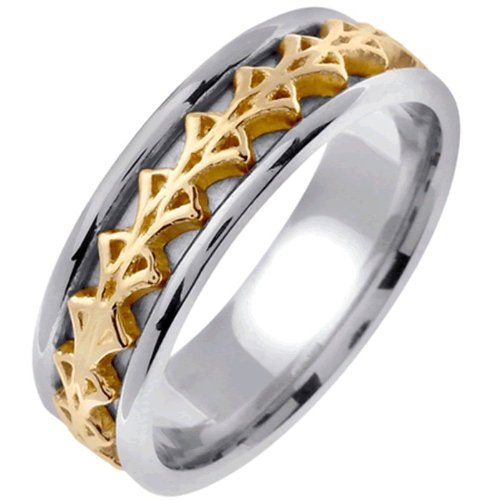 Two Tone Platinun And 18K Gold Men'S Celtic Knot Wedding Band (7Mm) Size-10