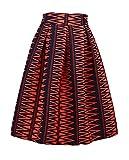 Dasbayla Women's High Waist Print Floral Pleated Skirt Midi Skater Skirt one Size