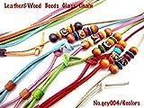 メガネチェーン サングラス ストラップ レザー&ウッドビーズ gcy004