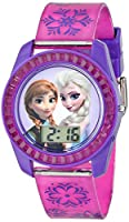 Disney Kids' FZN3598 Frozen Anna and Elsa Digital Watch with Purple Snowflake Band by Disney