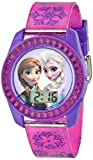 Disney Kids FZN3598 Frozen Anna and Elsa Digital Watch with Purple Snowflake Band