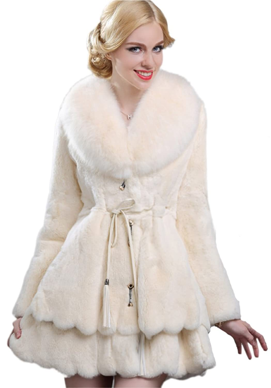 Queenshiny Damen Tuch 100% Echte Kaninchen Pelz Lang Mantel Jacken Mit Fuchs Pelz Kragen Neu Mode jetzt bestellen