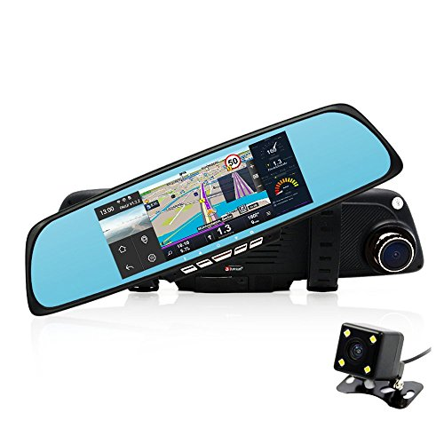 "junsun 6.86"" Dual Lens Car GPS DVR Rearview Mirror Camera Full HD 1080P video Dash cam recorder"