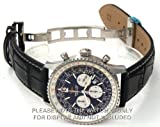 22mm Black Crocodile Watch Strap White Stitching on deployant buckle Fits Breitling Navitimer