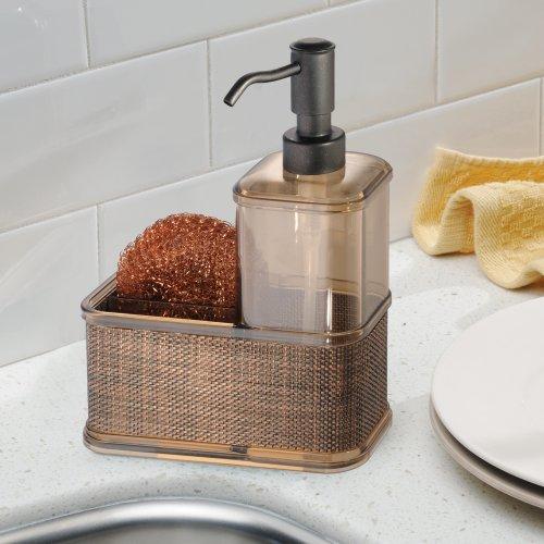 Interdesign Twillo Kitchen Soap Dispenser Pump Sponge And Scrubby Caddy Organizer Bronze Home