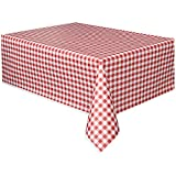 Red and White Gingham Check Plastic Tablecloth
