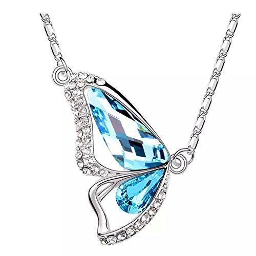 Butterfly tslme® Le Premium-Collana con elementi swarovski®, acquamarina e Tanzanite, colore: blu ...