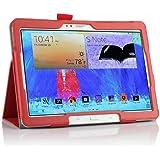 IVSO Slim-Book Funda de Cuero con Soporte para Samsung Galaxy Tab S 10.5 Tablet - con Card Holder, Hand Strap y Auto Sleep/Wake Function (Rojo)