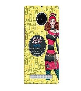 Fuson Yellow sweet Pattern Back Case Cover for MICROMAX YU YUPHORIA AQ5010 - D3948
