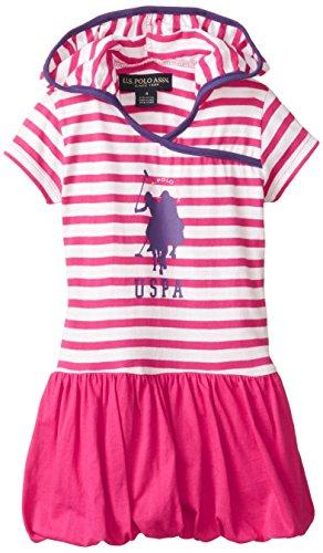 U.S. Polo Assn. Little Girls' Dress Of Stripe Hooded Top And Bubble Hem Skirt, Berry Bug, 5