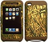 Camo Straw on Brown Silicone Skin for Apple ipod Touch iTouch 4G 4 Hybrid 2 in 1 Rubber Cover Hard Case