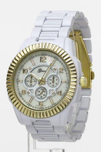 Trendy Fashion Jewelry Large Metal Fashion Watch By Fashion Destination | (White/Gold)