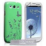"""Samsung Galaxy S3 Tasche Gr�n Schmetterling Harte H�lle Mit Displayschutz Und Poliertuchvon """"Yousave Accessories�"""""""
