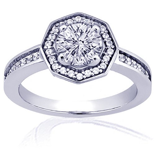 1.20 Ct Round Cut Halo Diamond Engagement Ring 