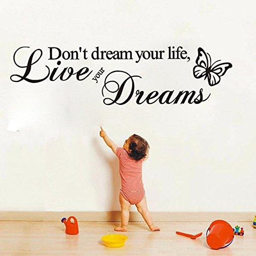 JJQPR Live Your Dreams in inglese inglese farfalla parete adesivo carta da parati