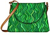 Snoogg Green Leaf Pattern Designer Womens Carry Around Sling Bags