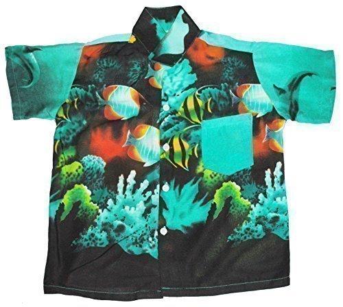 Hawaii Hemd Jungen Tropisch Fisch Jungen Mädchen Kinder - Grün, XL EU 134/146