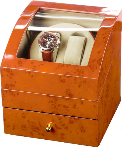 Auer Accessories Ares 721BB Watch Winder For 2 Watches Blond Burlwood