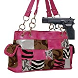 Pink and Khaki Fashion Signature Patch Conceal and Carry Purse