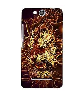 EPICCASE Burnung Tiger Mobile Back Case Cover For Micromax Canvas Juice 3 Q392 (Designer Case)