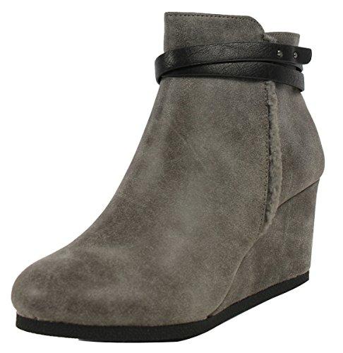 City Classified Women'S Gummy Faux Leather Faux Fur Wedge Ankle Bootie, Grey, 7.5 M Us
