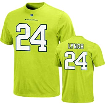 NFL Mens Seattle Seahawks Marshawn Lynch The Eligible Receiver Bright Green Short Sleeve Basic Crew Neck Tee (Bright Green, Large)