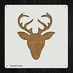 Reindeer Head Antlers Christmas Style 1158 , DIY Plastic Stencil Acrylic Mylar Reusable
