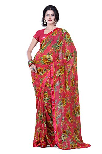 Lacxo Red Red georgette sarees  Free Size Inch Broad 1 Pcs